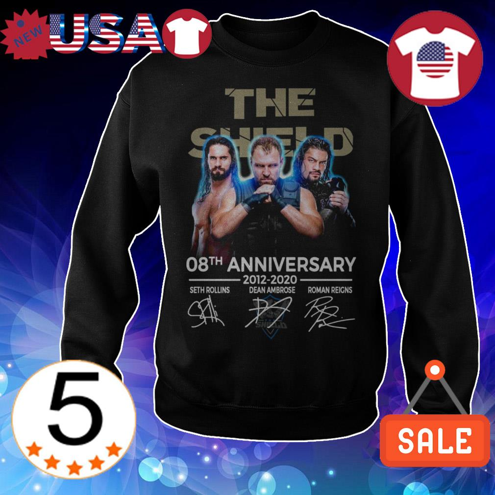 The Shield 08th Anniversary 2012 2020 Sth Rollins Dean Ambrose Roman Reigns signatures shirt