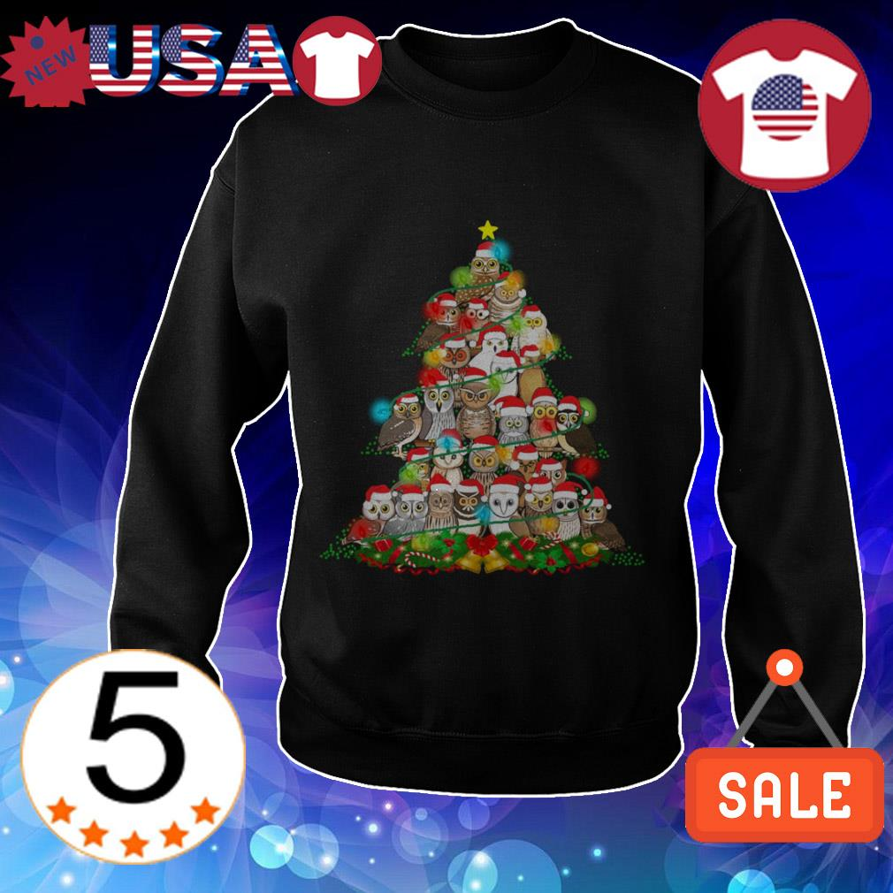 Owl Christmas gift tree sweater