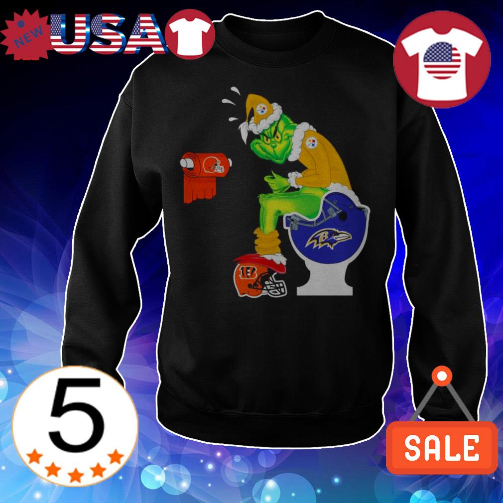 Pittsburgh Steelers Grinch toilet Baltimore Ravens Cincinnati Bengals Christmas sweater