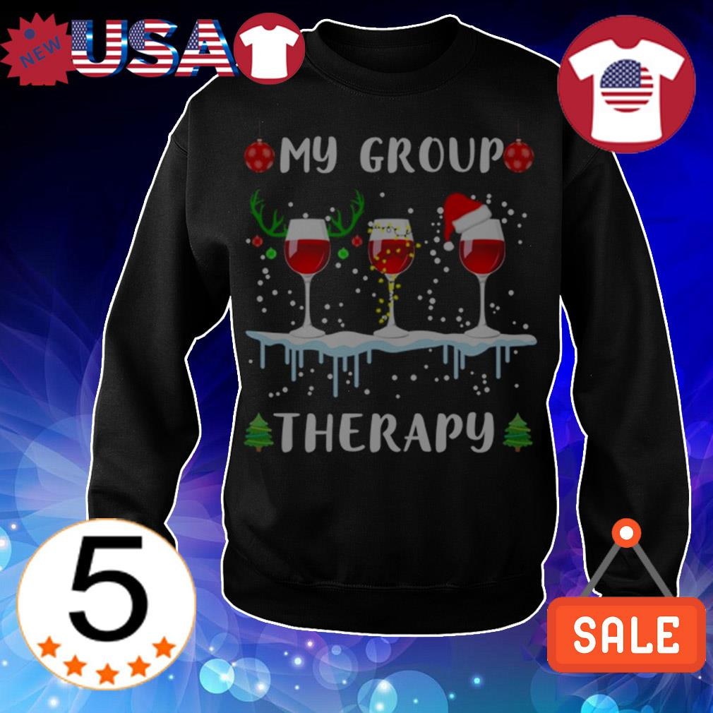 My group therapy wine glasses Christmas sweater