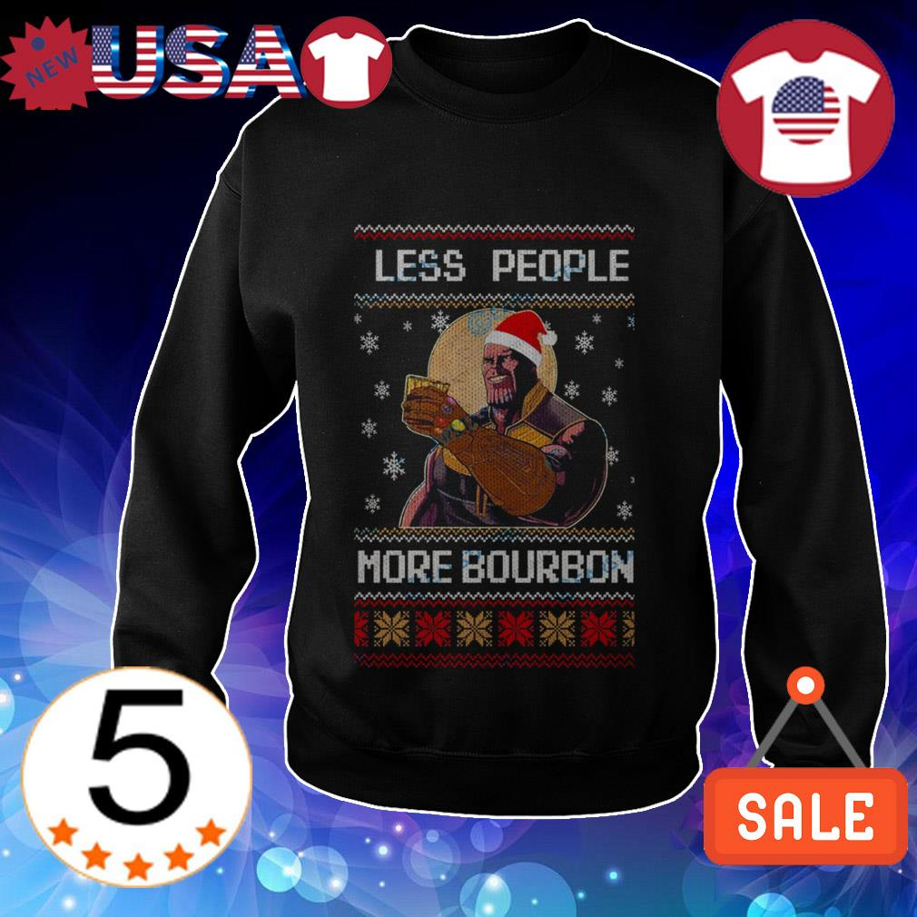 Marvel Avengers Endgame Thanos less people more Bourbon Christmas sweater