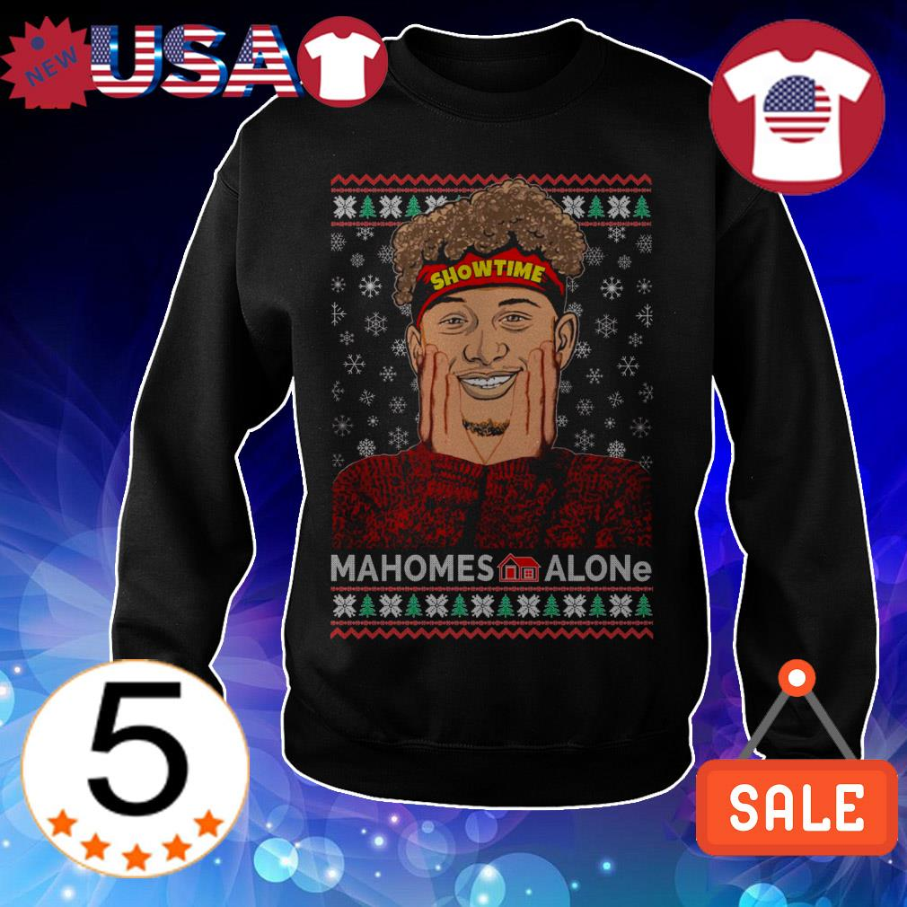 Mahomes Alone movie parody football Christmas sweater