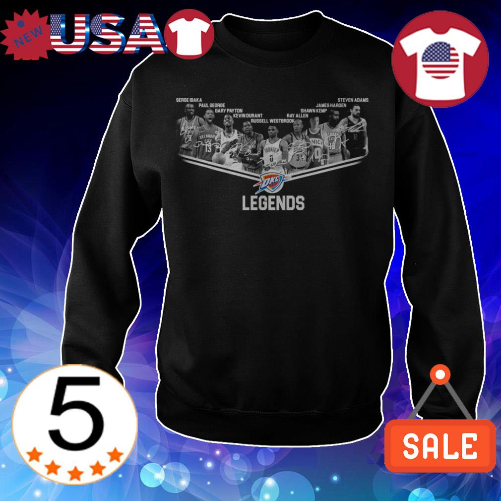 Oklahoma City Thunder legends team players signatures shirt