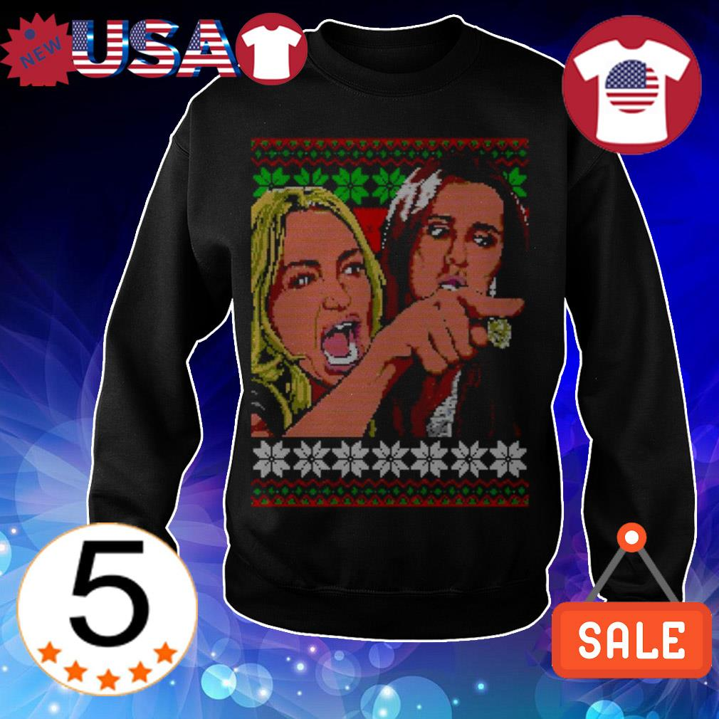 Woman yelling meme Christmas sweater