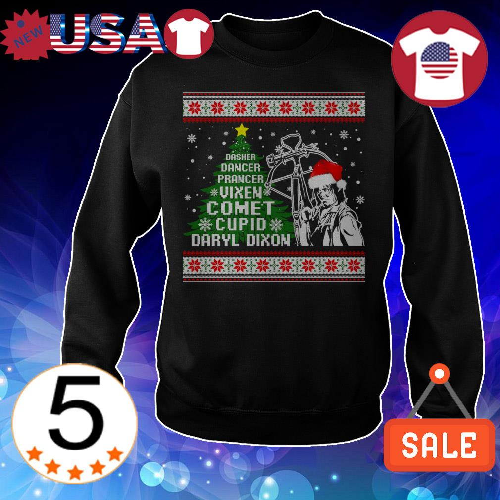 Dasher dancer prancer vixen comet cupid Daryl Dixon Christmas sweater