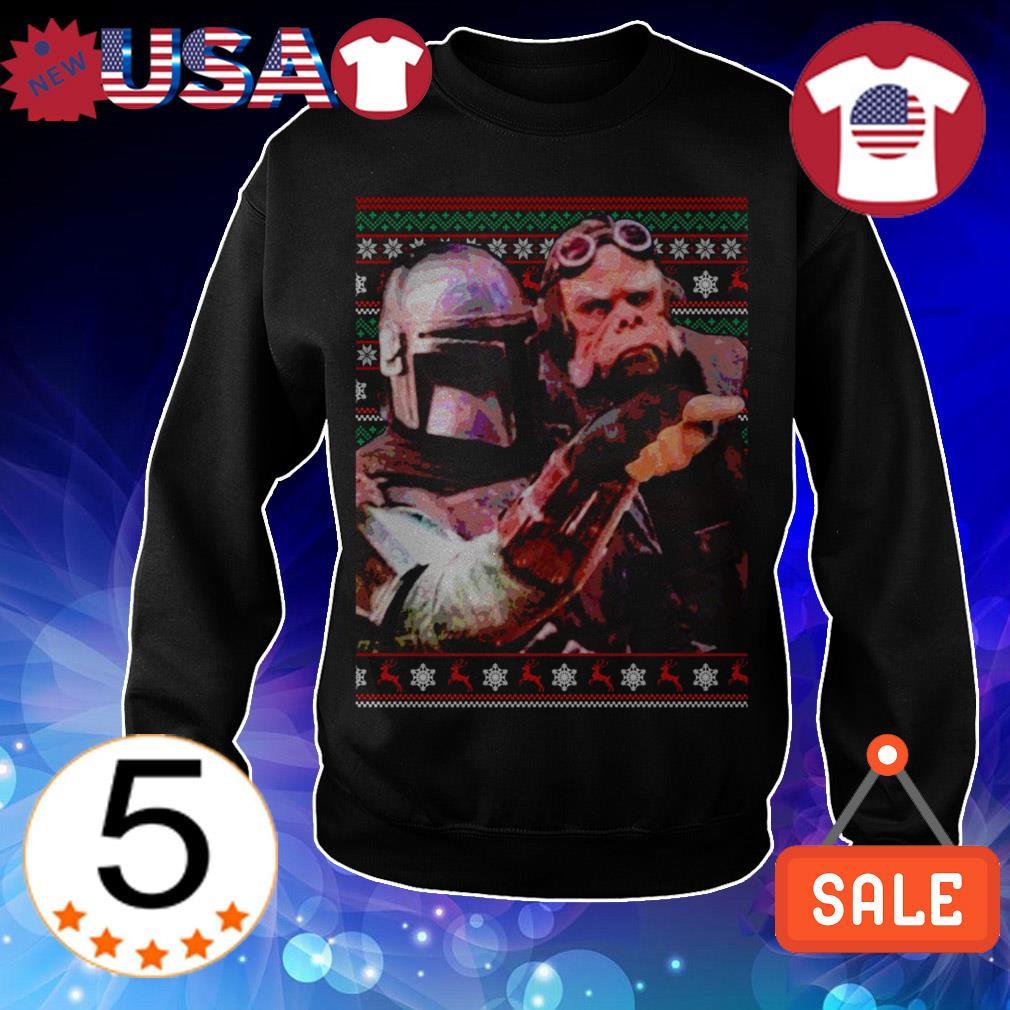 Star Wars Mandalorian woman yelling at cat meme Christmas sweater