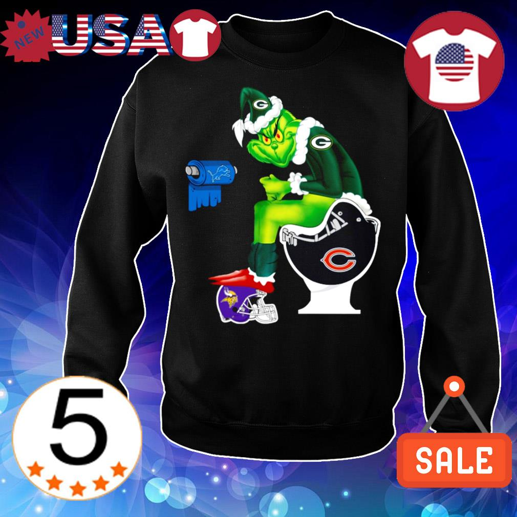 Green Bay Packers Grinch Toilet Minnesota Vikings Miami Dolphins Patroits Christmas sweater
