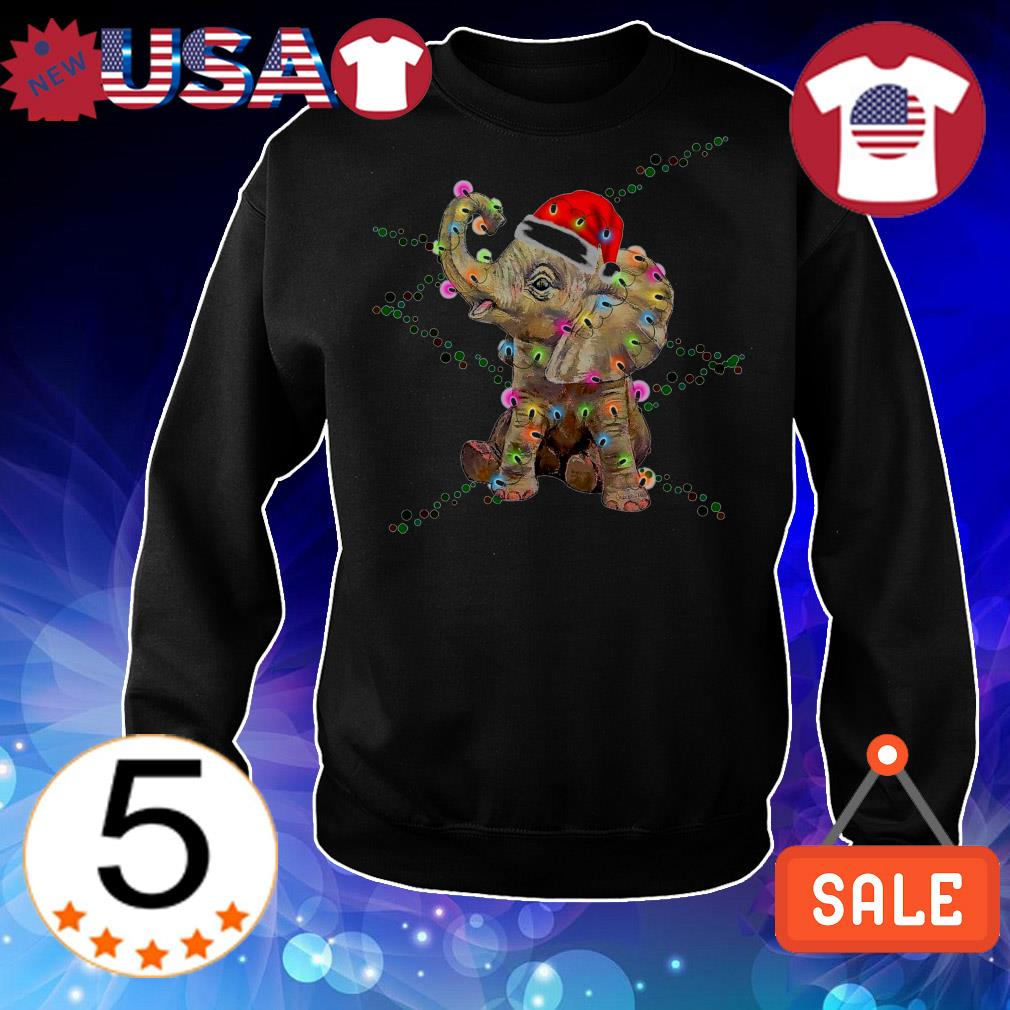 Elephant color light Christmas sweater