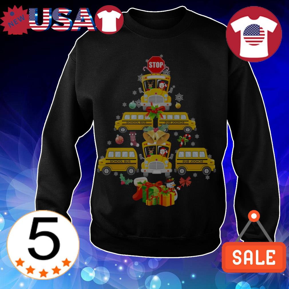 School Bus pine Tree Christmas sweater