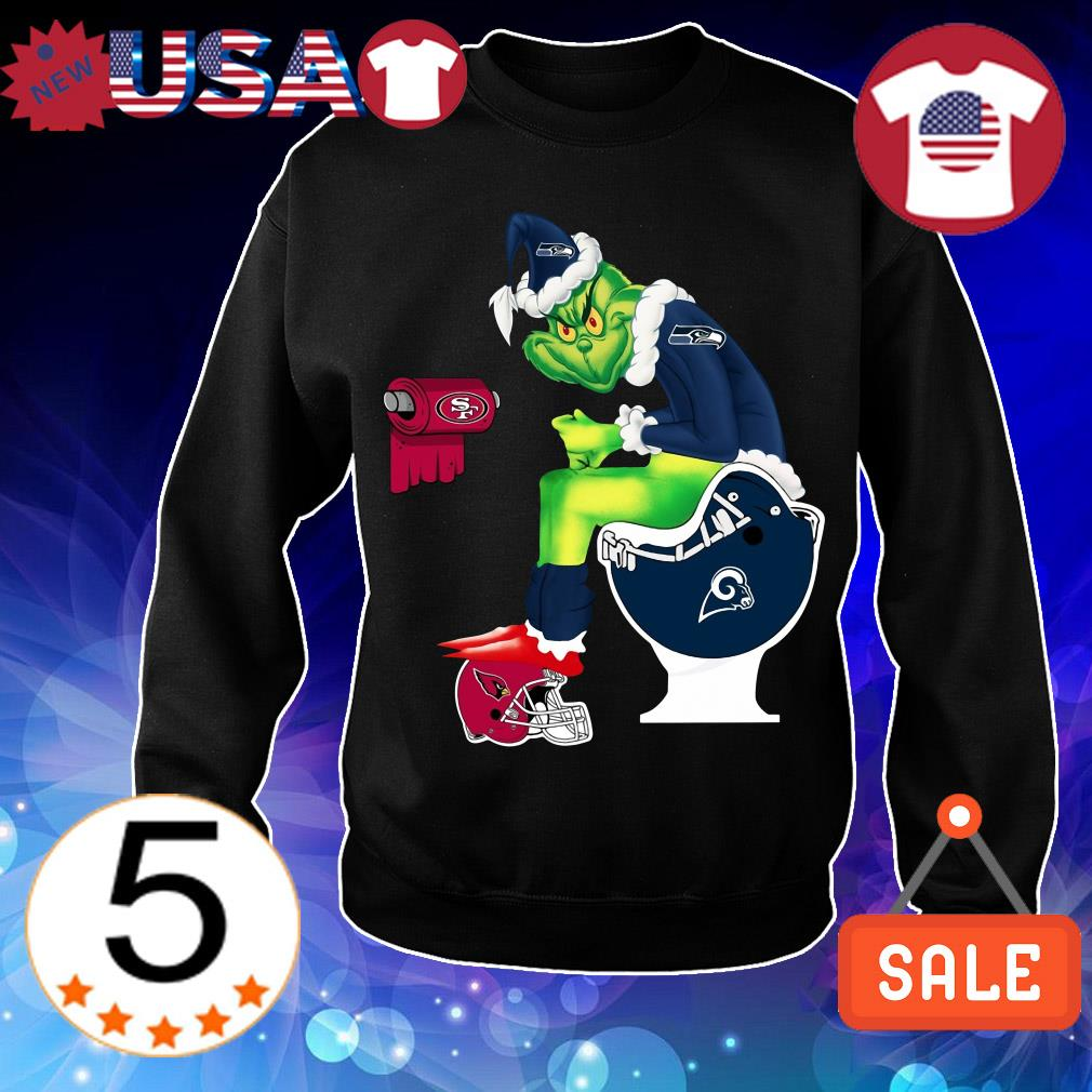 Grinch Toiler Seattle Seahawks San Francisco 49ers Los Angeles Rams Arizona Cardinals Christmas sweater