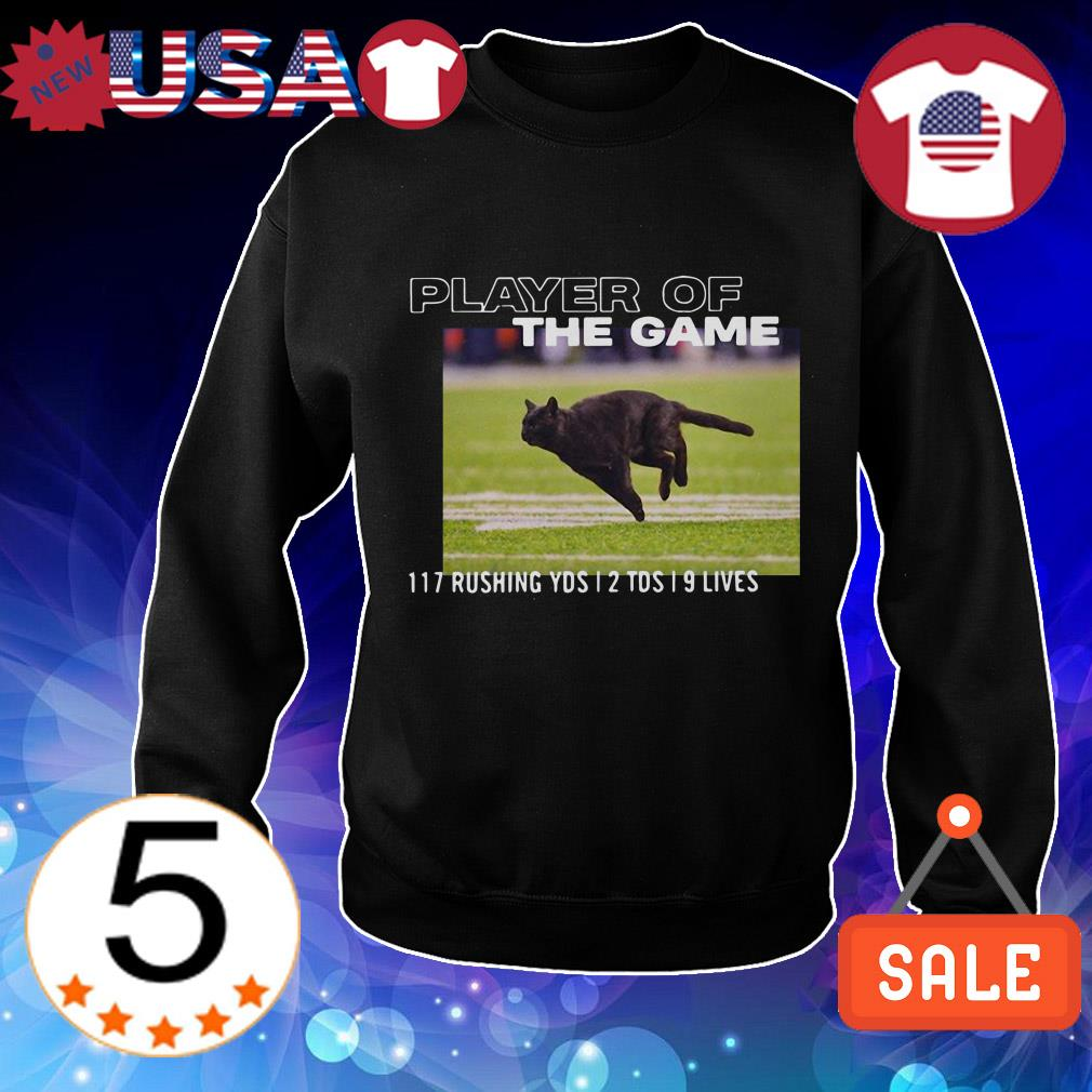 Black cat player of the game 117 rushing YDS 2 TDS 9 LIVES shirt