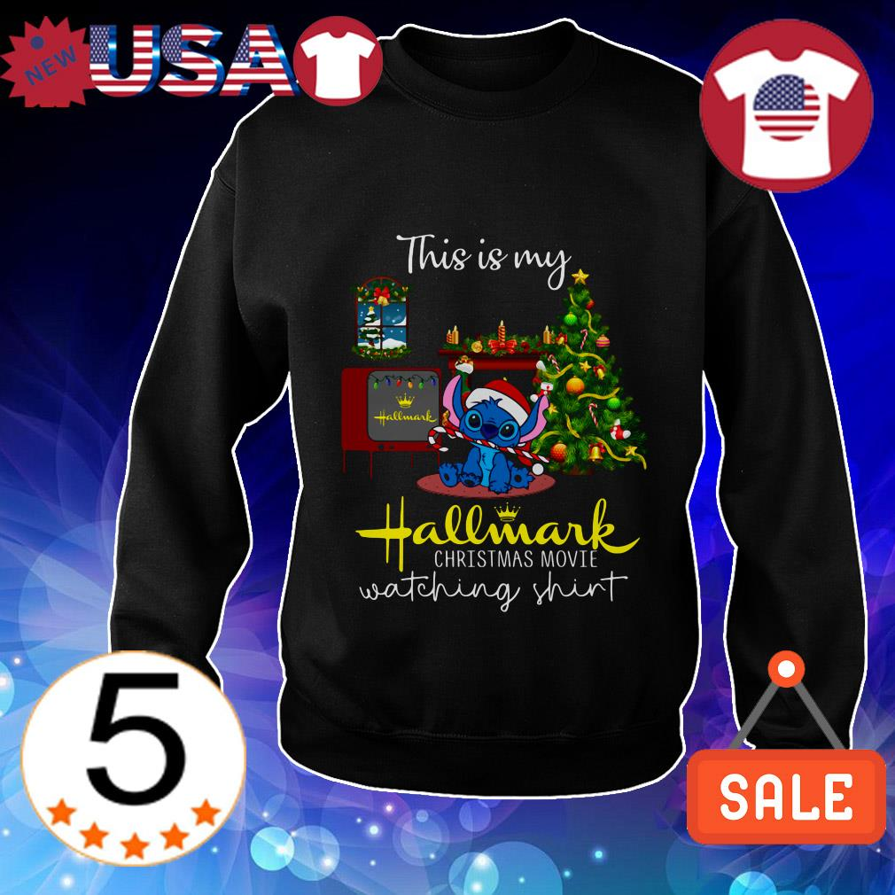 Disney Stitch this is my Hallmark Christmas move watching shirt