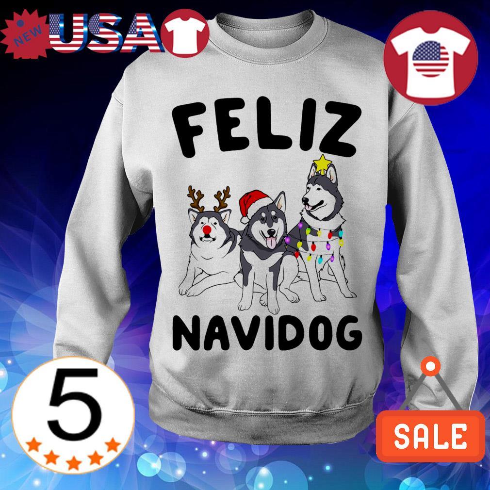 Feliz Navidog Alaskan Malamute Dog Crewneck Christmas sweater