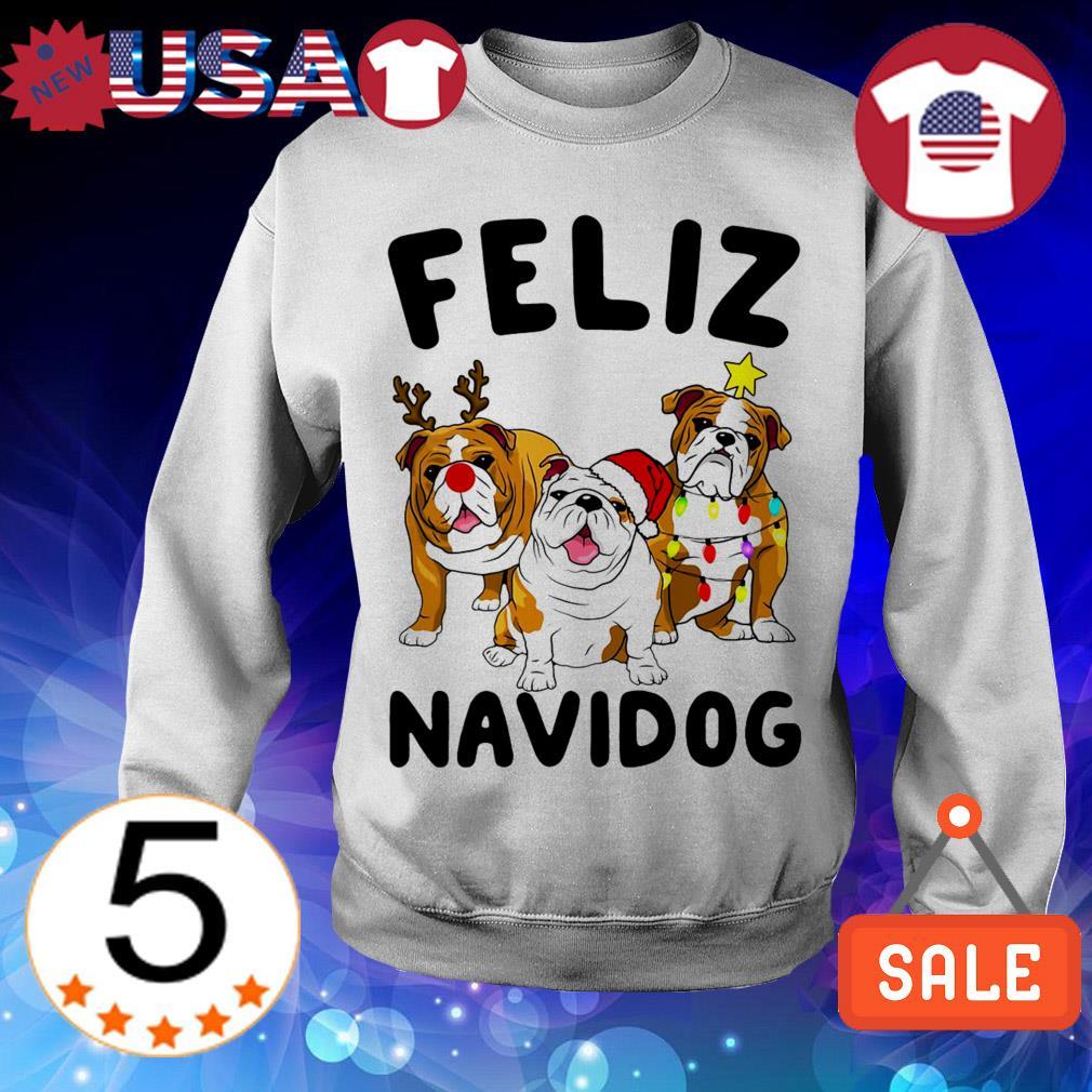 Feliz Navidog Bulldog Dog Crewneck Christmas sweater