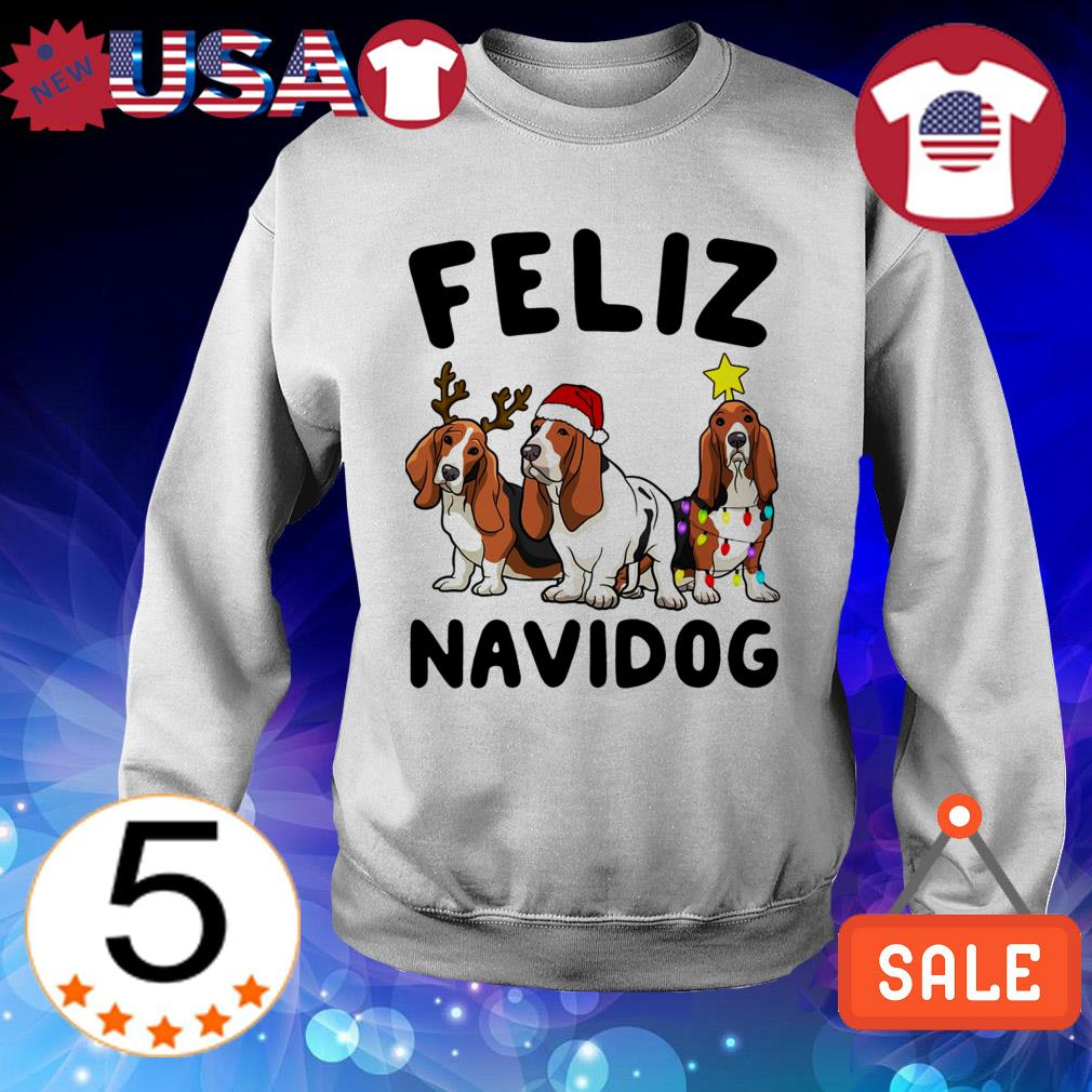 Feliz Navidog Basset Hound Dog Crewneck Christmas sweater