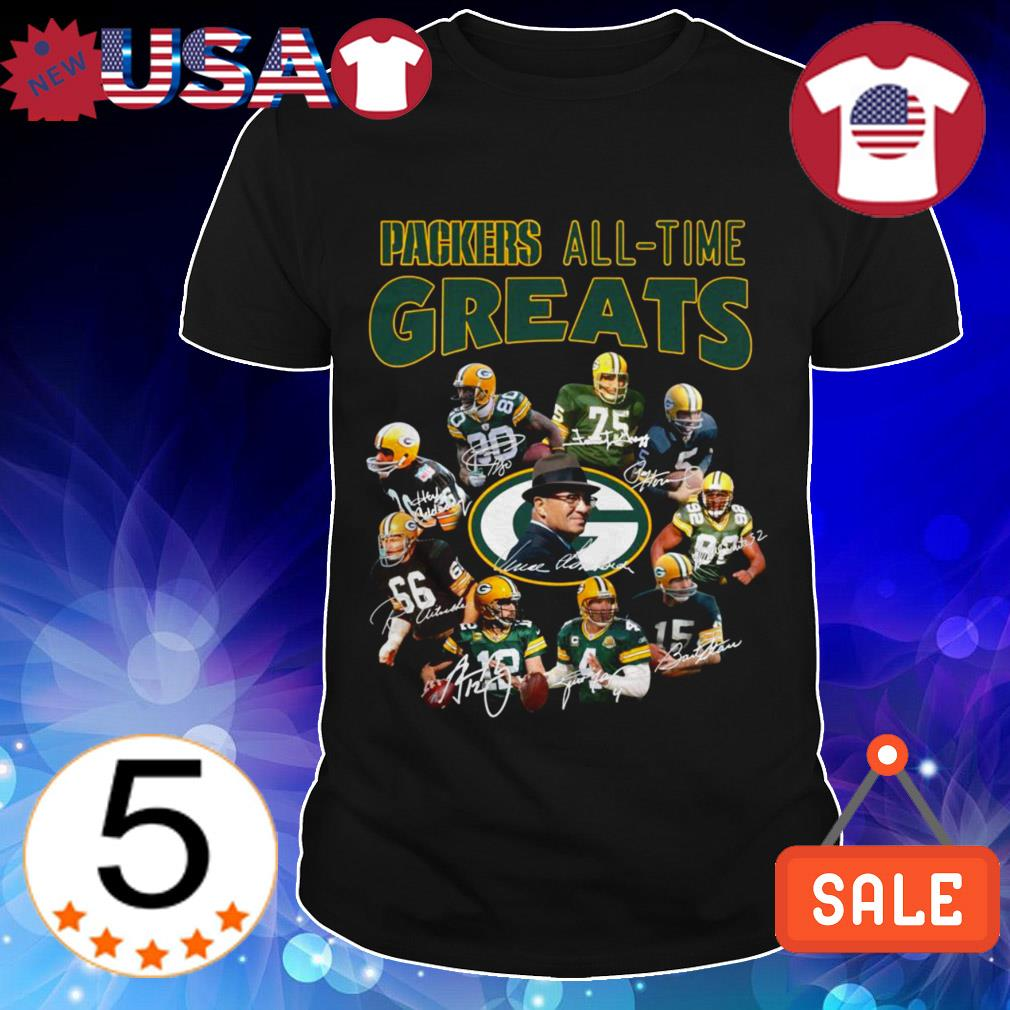 Green Bay Packers All Time Greats team players signature shirt