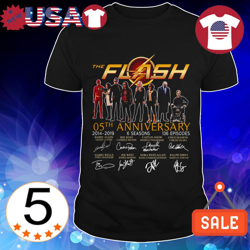 The Flash 05th anniversary 2014-2019 6 seasons 136 episodes signature shirt