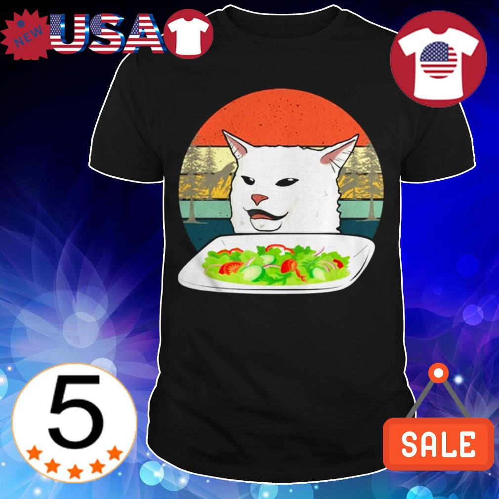 Cat at dinner vintage shirt