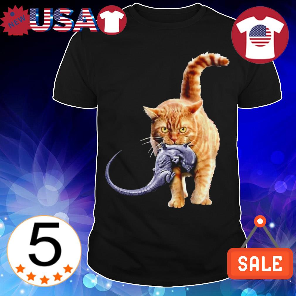 Cat eat alien shirt