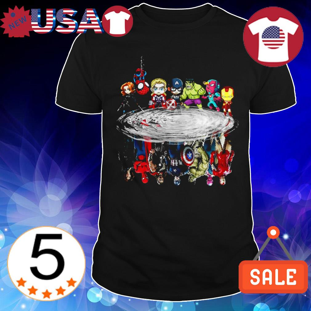 Marvel Avengers Chibi characters water mirror reflection shirt