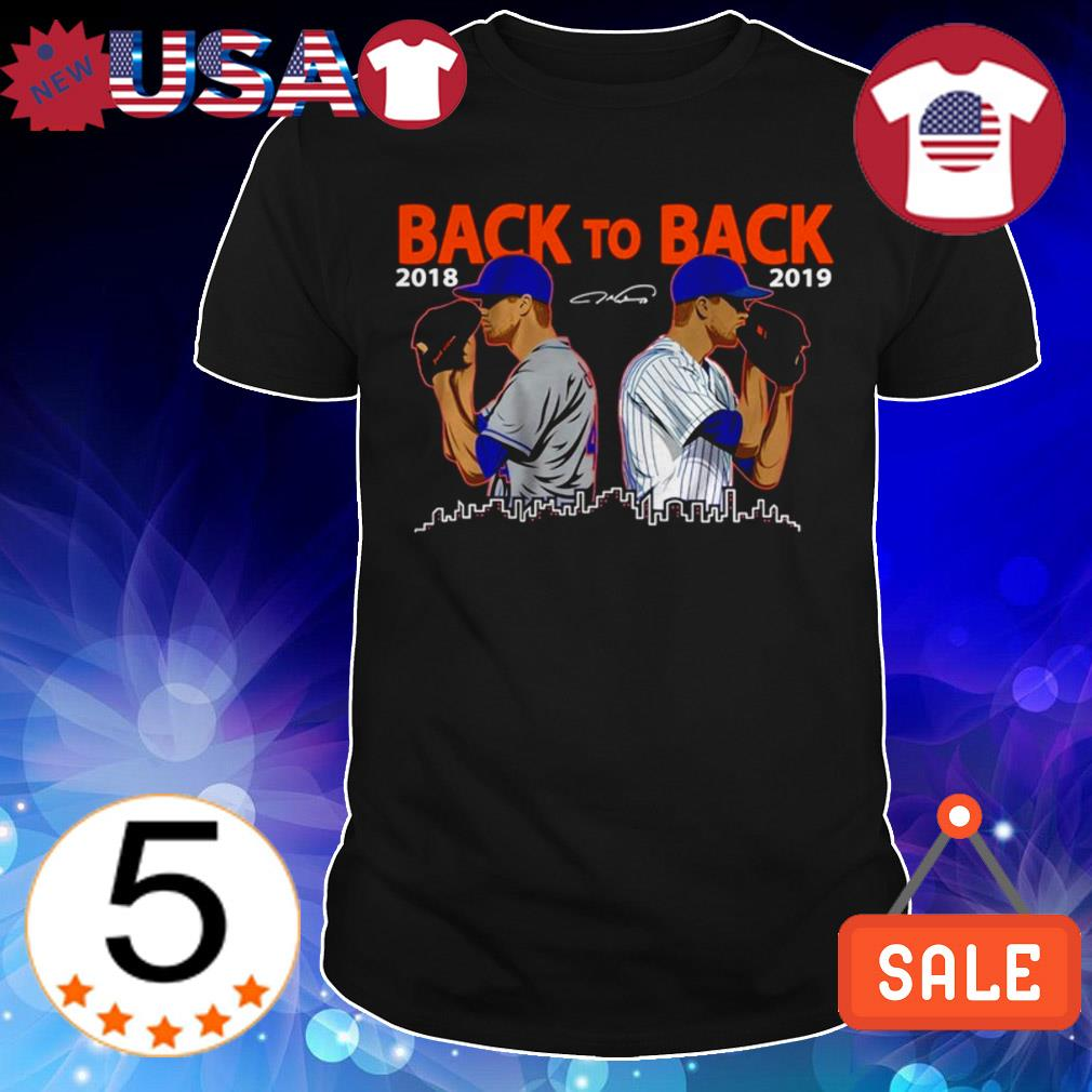 Jacob deGrom New York Mets Back to Back signatures shirt
