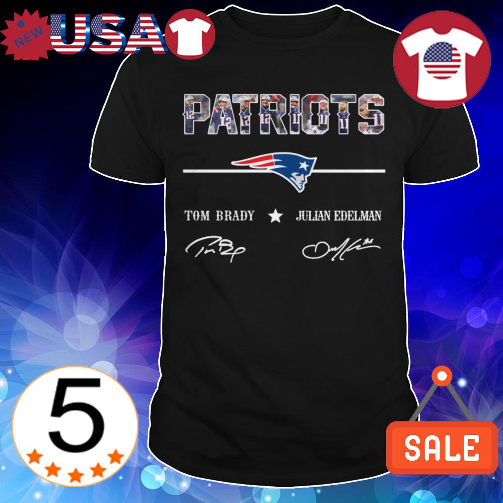 New England Patriots Tom Brady Julian Edelman players signatures shirt