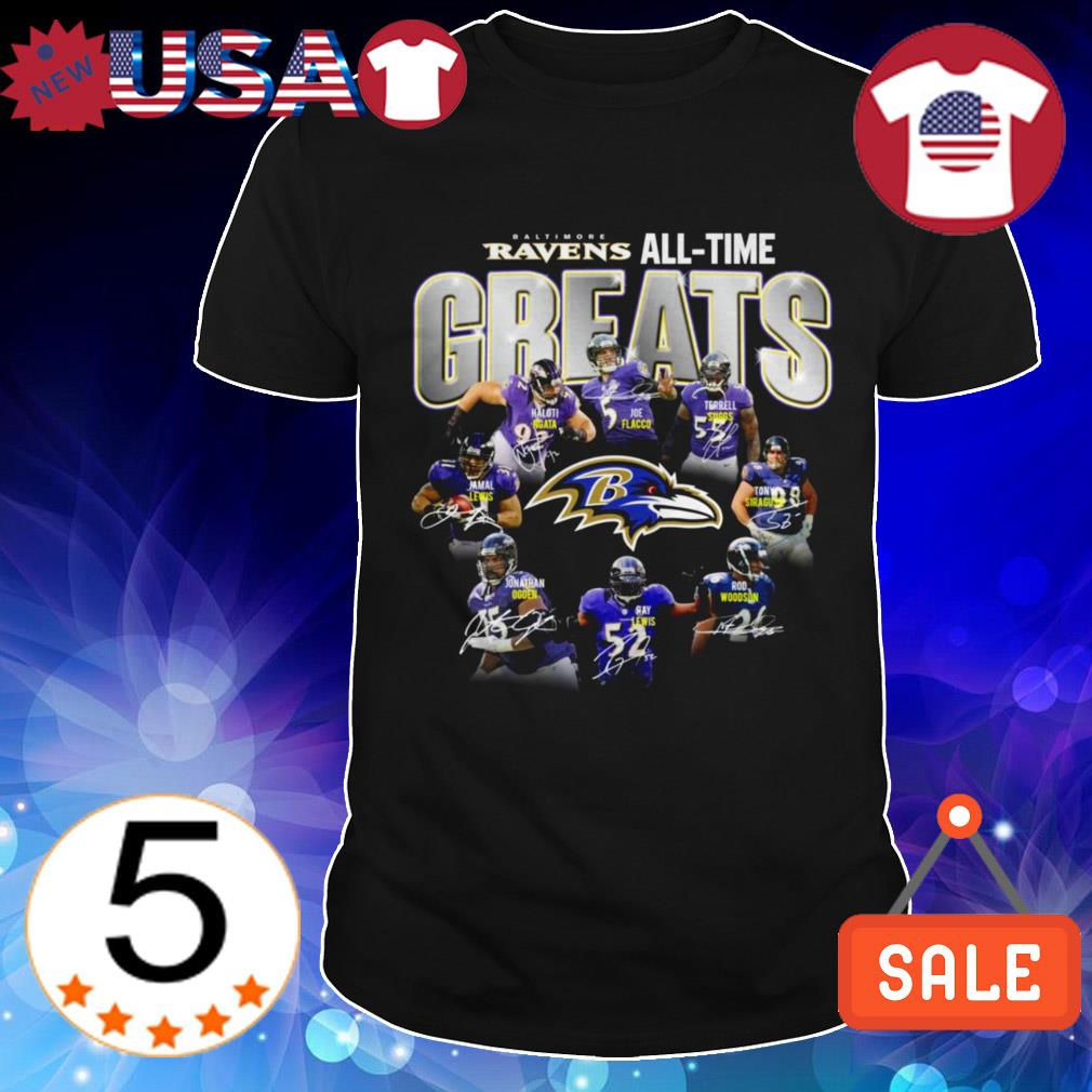 Baltimore Ravens all time greats team players signatures shirt