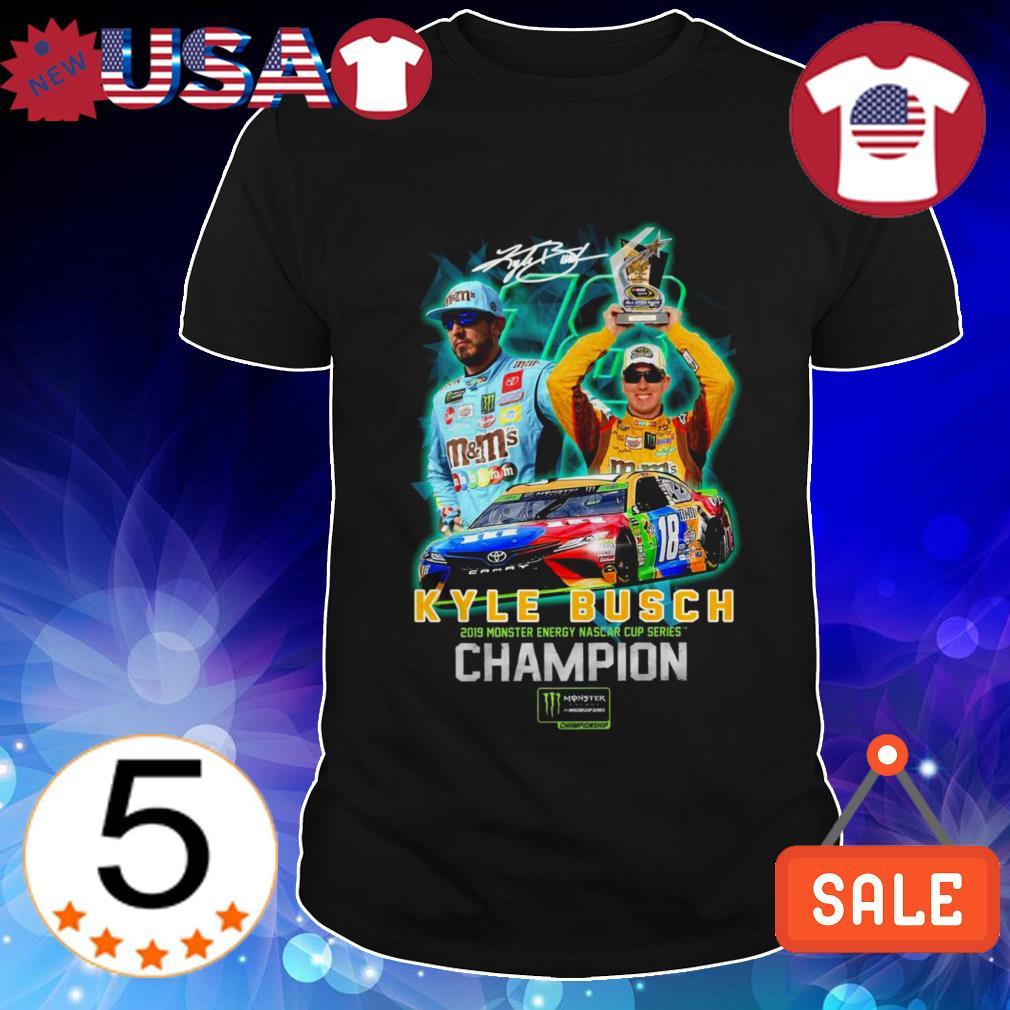 Kyle Busch Joe Gibbs 2019 Monster Energy Nascar Cup Series Champion signatures shirt