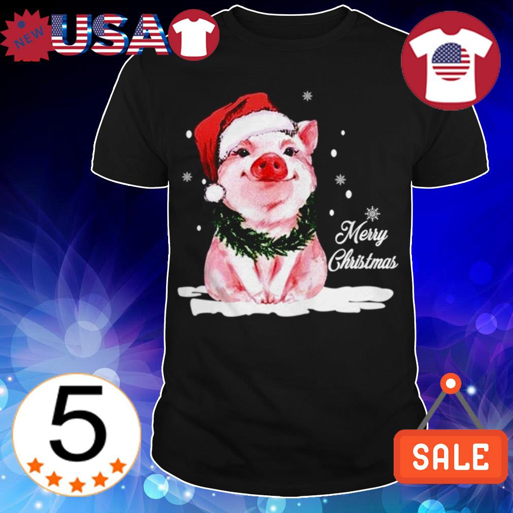 Pig wearing Santa hat Merry Christmas sweater