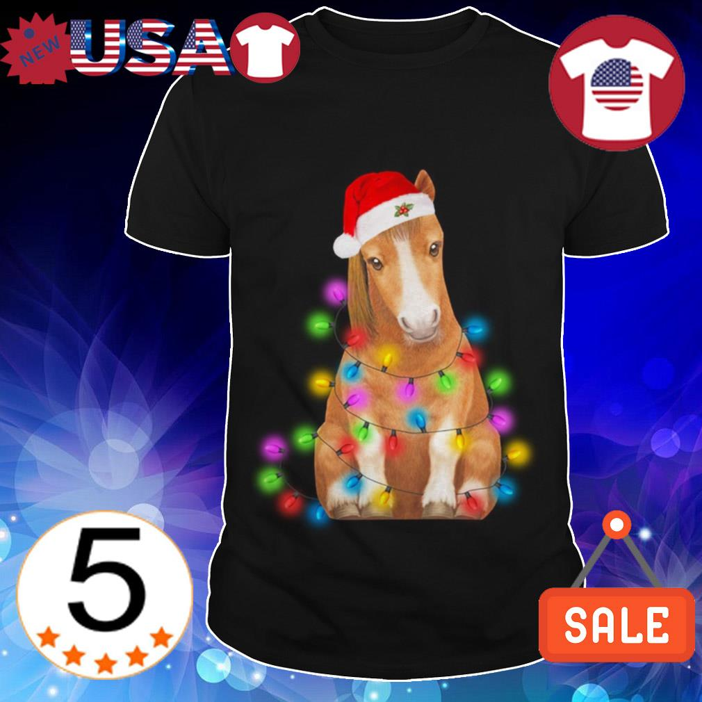 Horse Santa merry and bright Christmas sweater