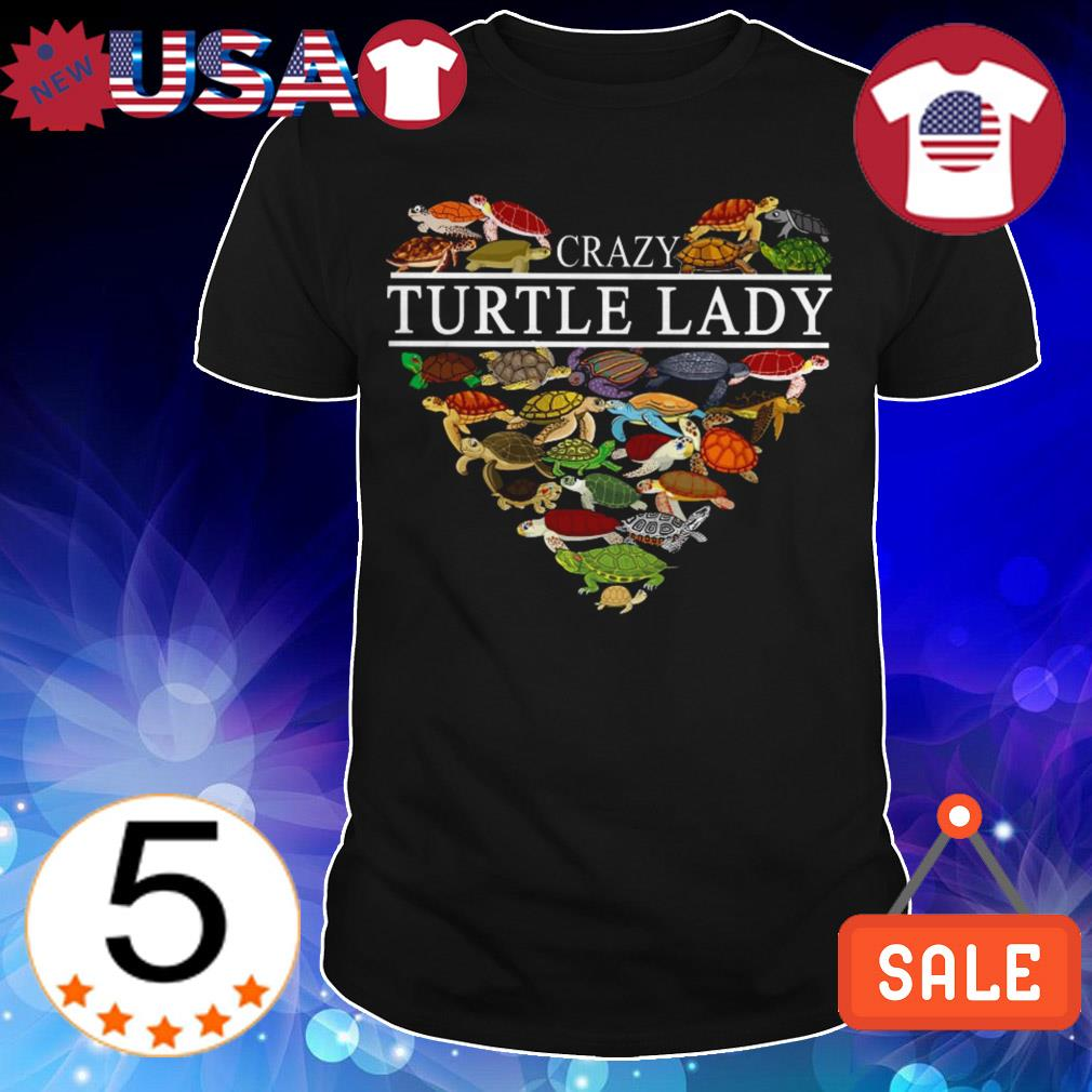 Crazy turtle lady heart shirt
