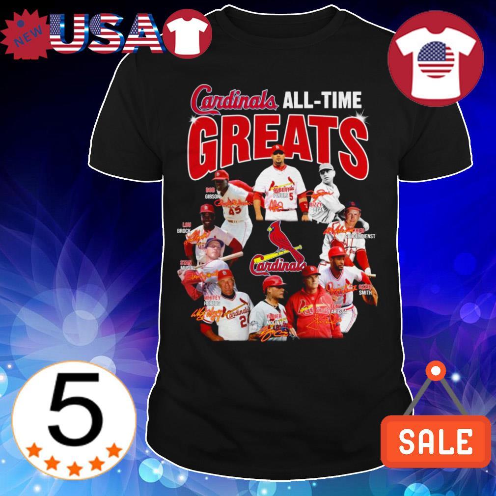 St. Louis Cardinals all time greats team players signatures shirt