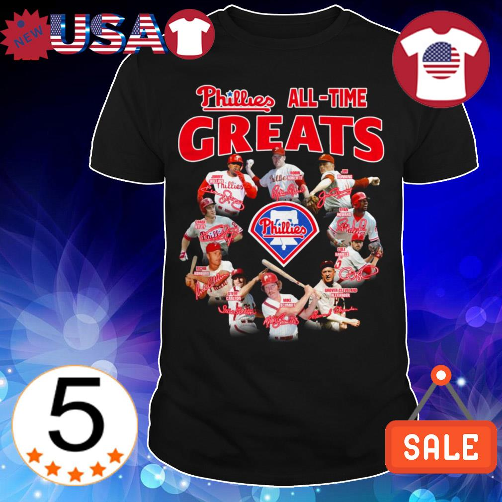 Philadelphia Phillies all time greats team players signatures shirt