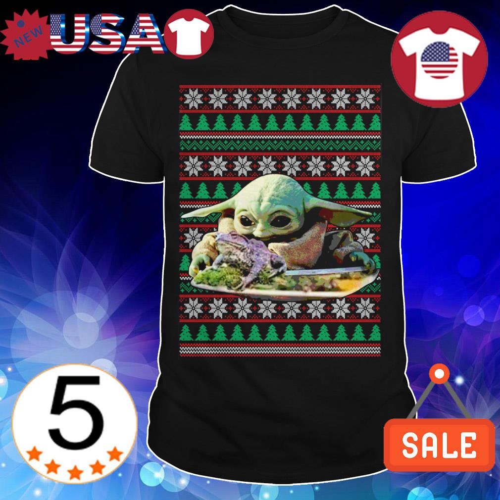 Star Wars Baby Yoda eating frog Christmas sweater