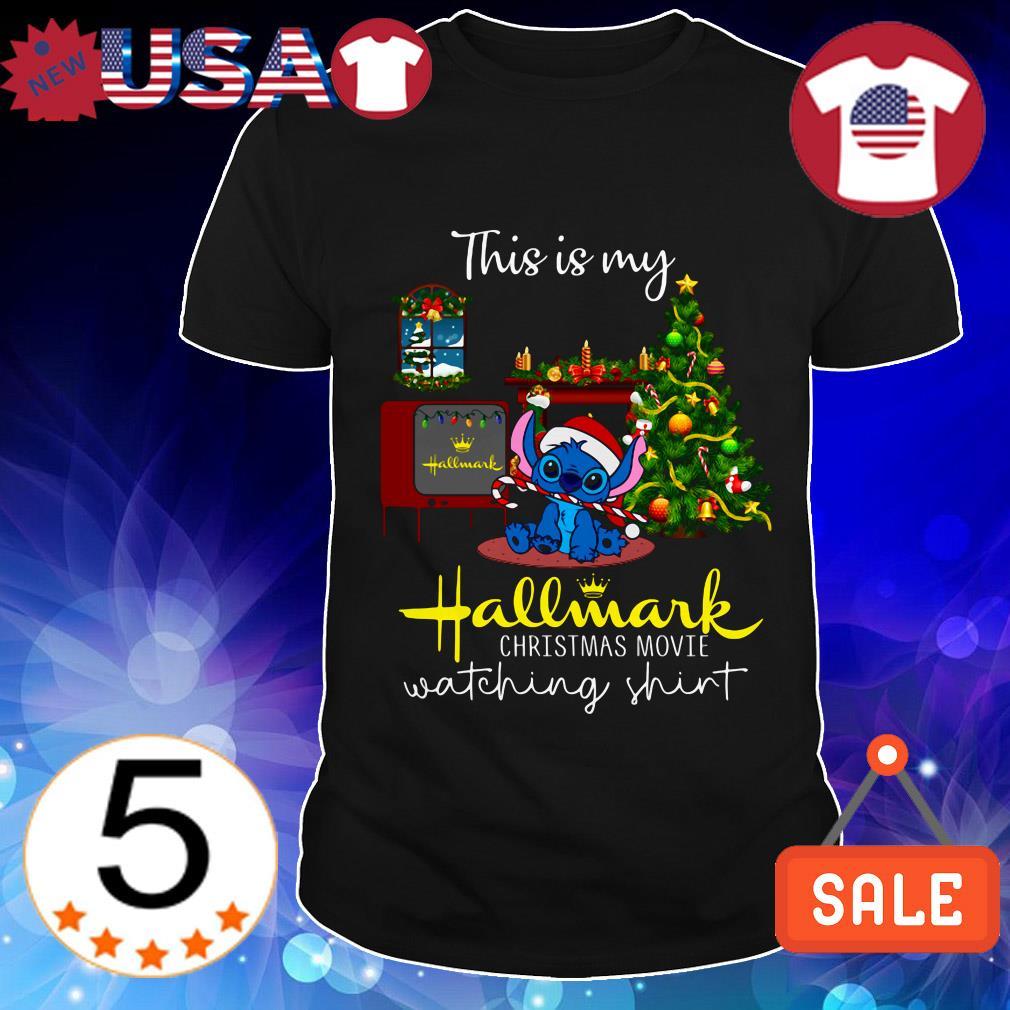 Disney Stitch this is my Hallmark Christmas move watching shirt