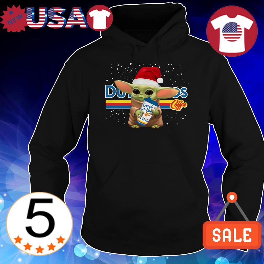 Yoda baby Santa hugs Dutch Bros coffee Christmas sweatshirt