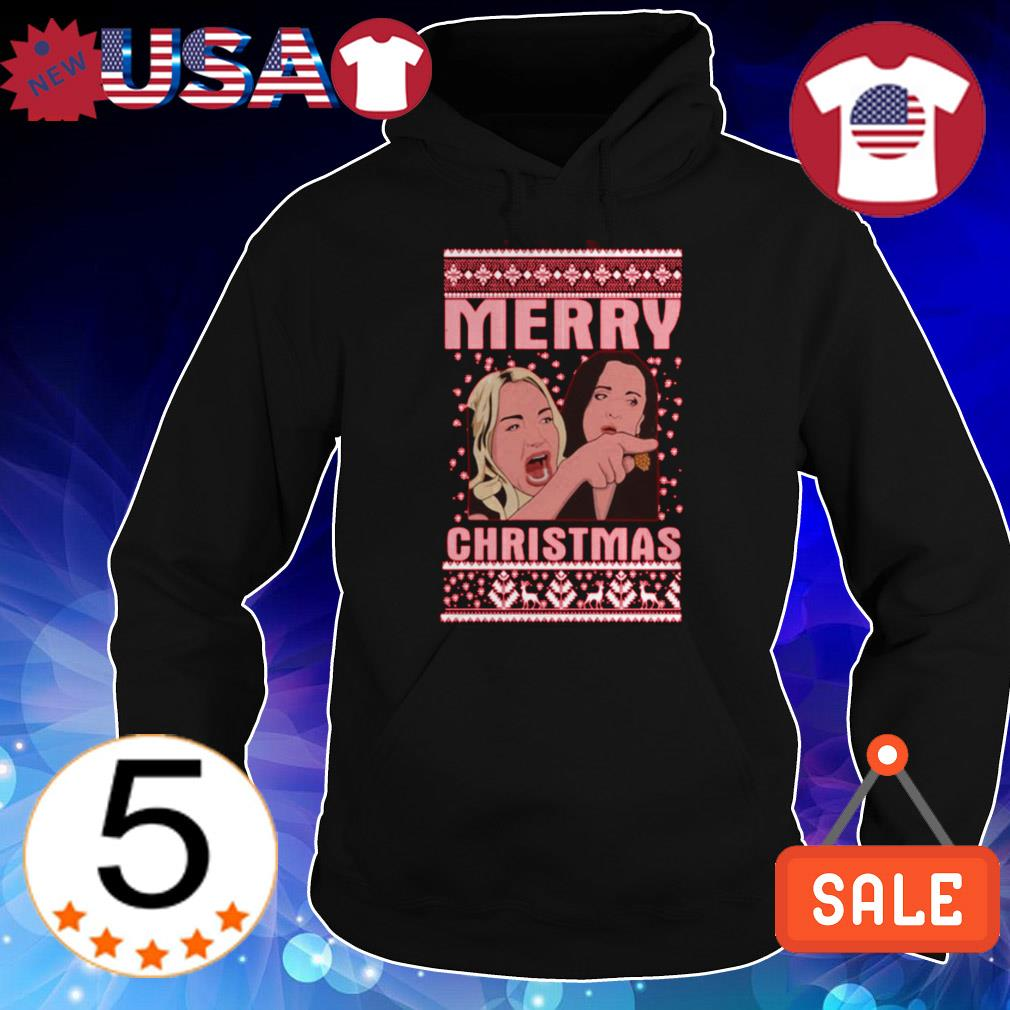 Woman yelling at cat Merry Christmas sweater