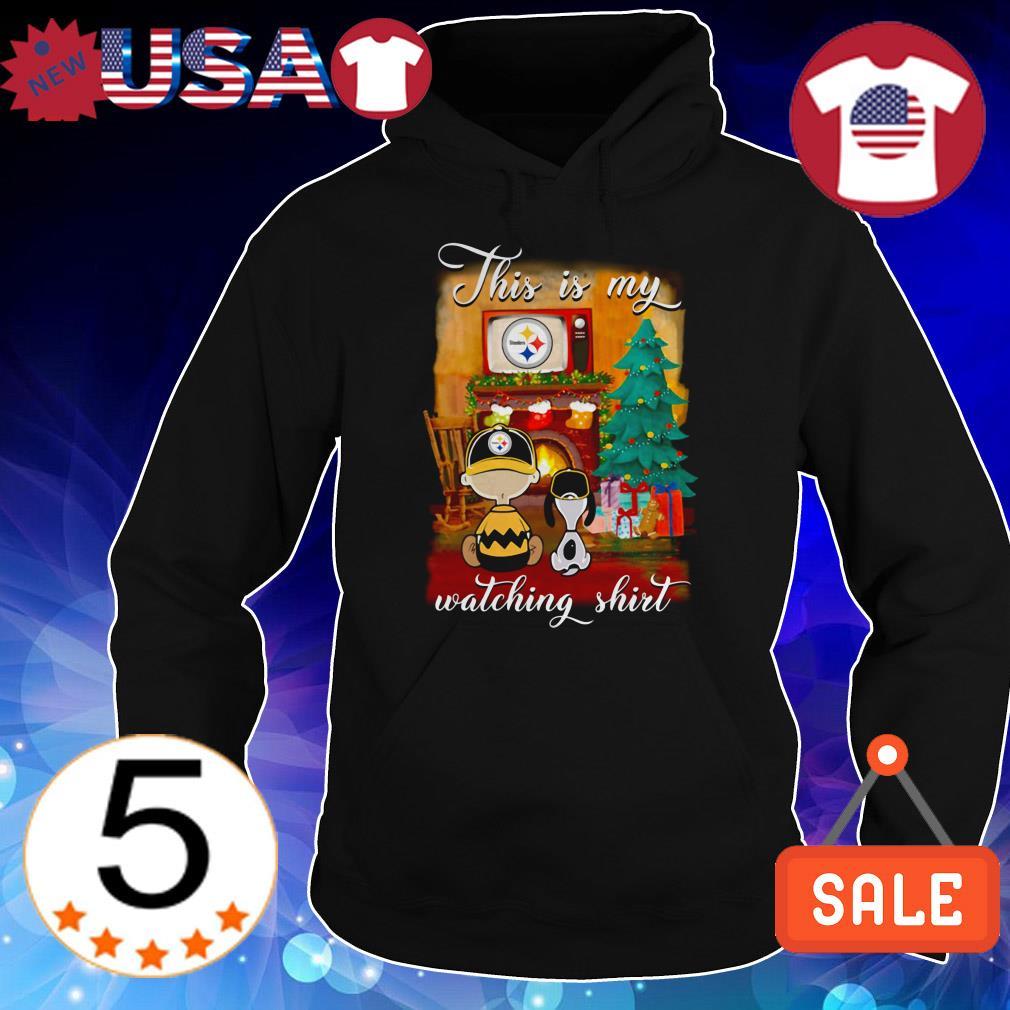 The Peanuts Snoopy and Charlie Brown watching Pittsburgh Steelers Christmas sweatshirt
