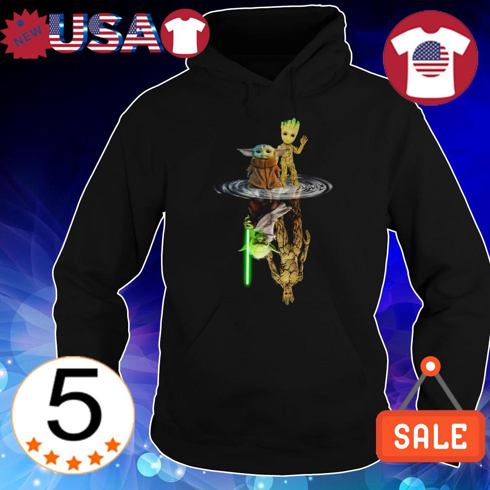 Star Wars Baby Yoda and Baby Groot mirror reflection shirt
