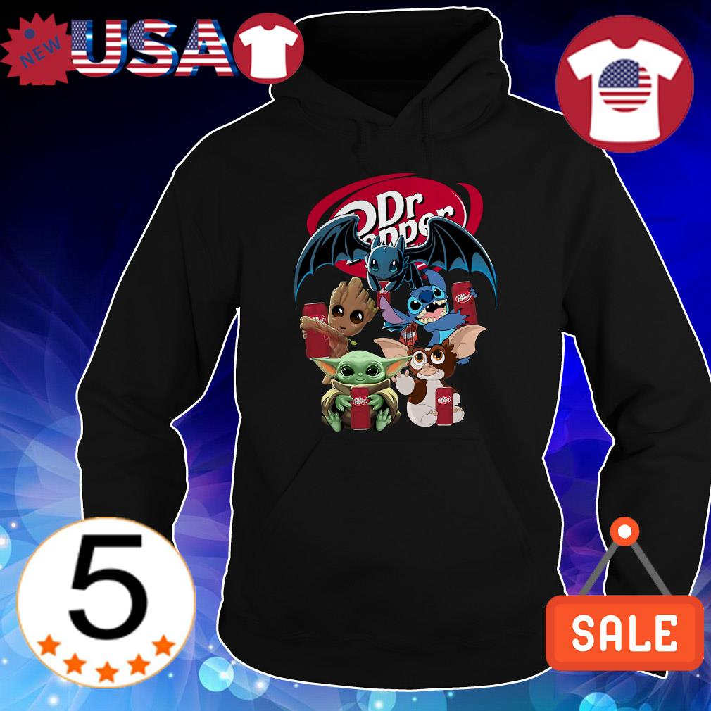 Dr Pepper Baby Yoda Groot Stitch toothless and Gremlins shirt
