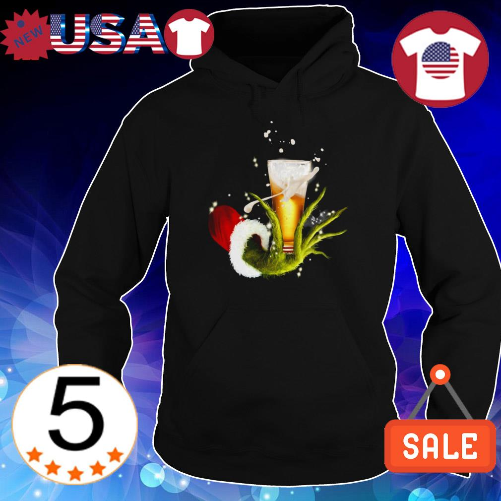 Grinch holding glass of beer Christmas sweatshirt