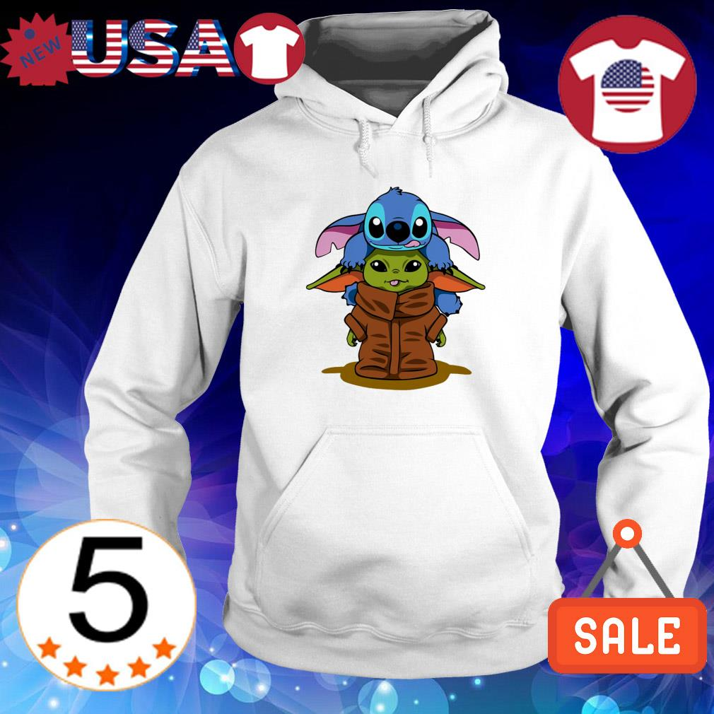 Star Wars Baby Yoda and Disney Baby Stitch hugging shirt