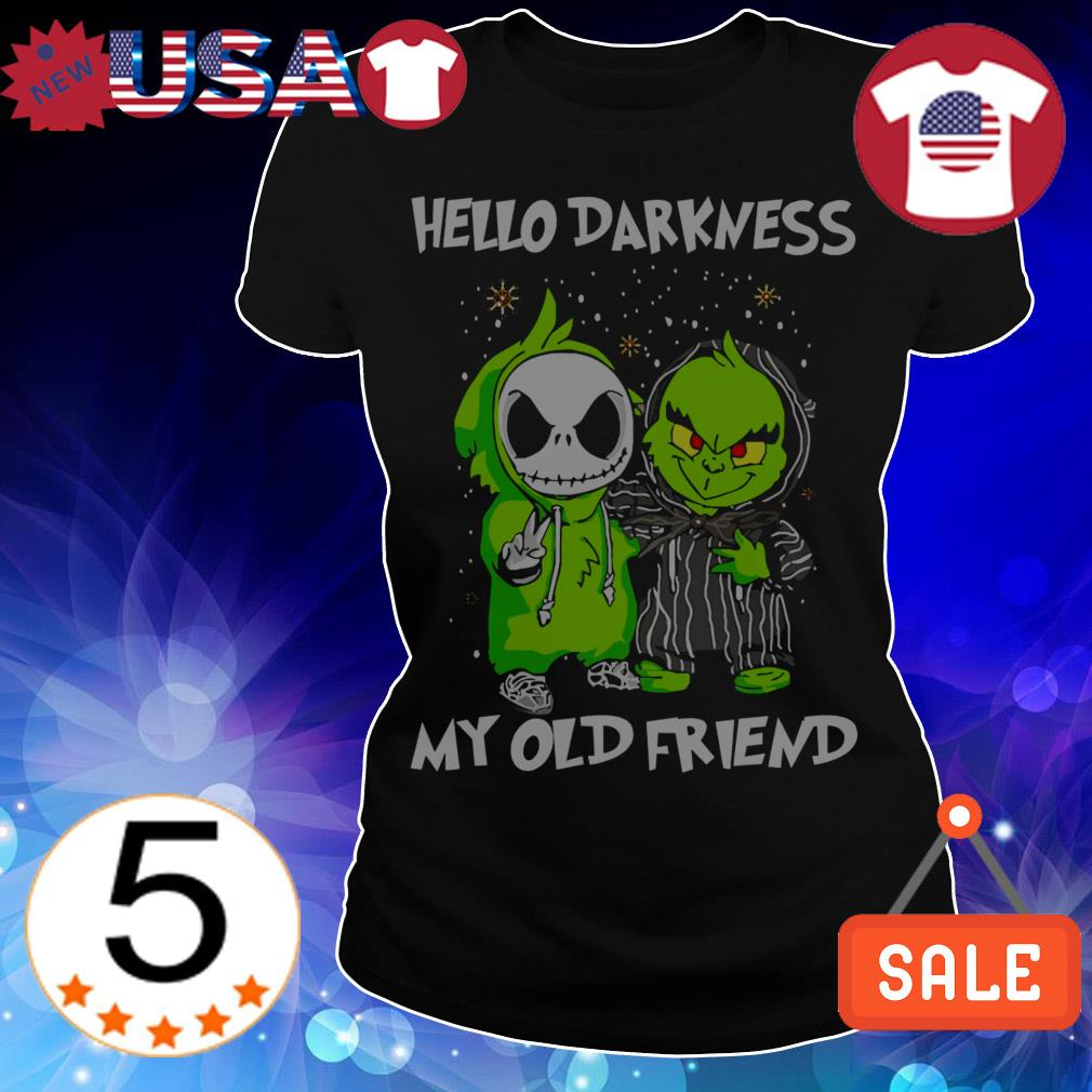 Baby Jack Skellington and Baby Baby Grinch hello darkness my old friend Christmas sweatshirt