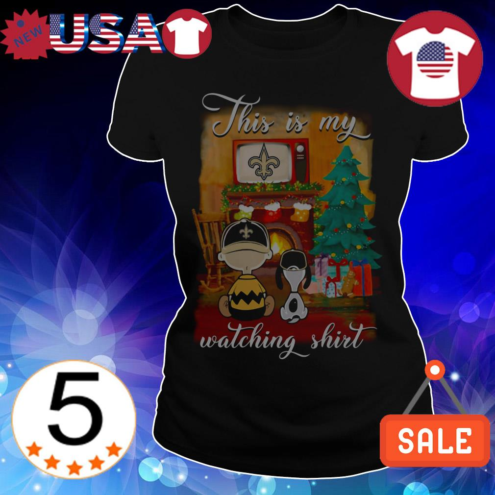 The Peanuts Snoopy and Charlie Brown watching New Orleans Saints Christmas sweatshirt