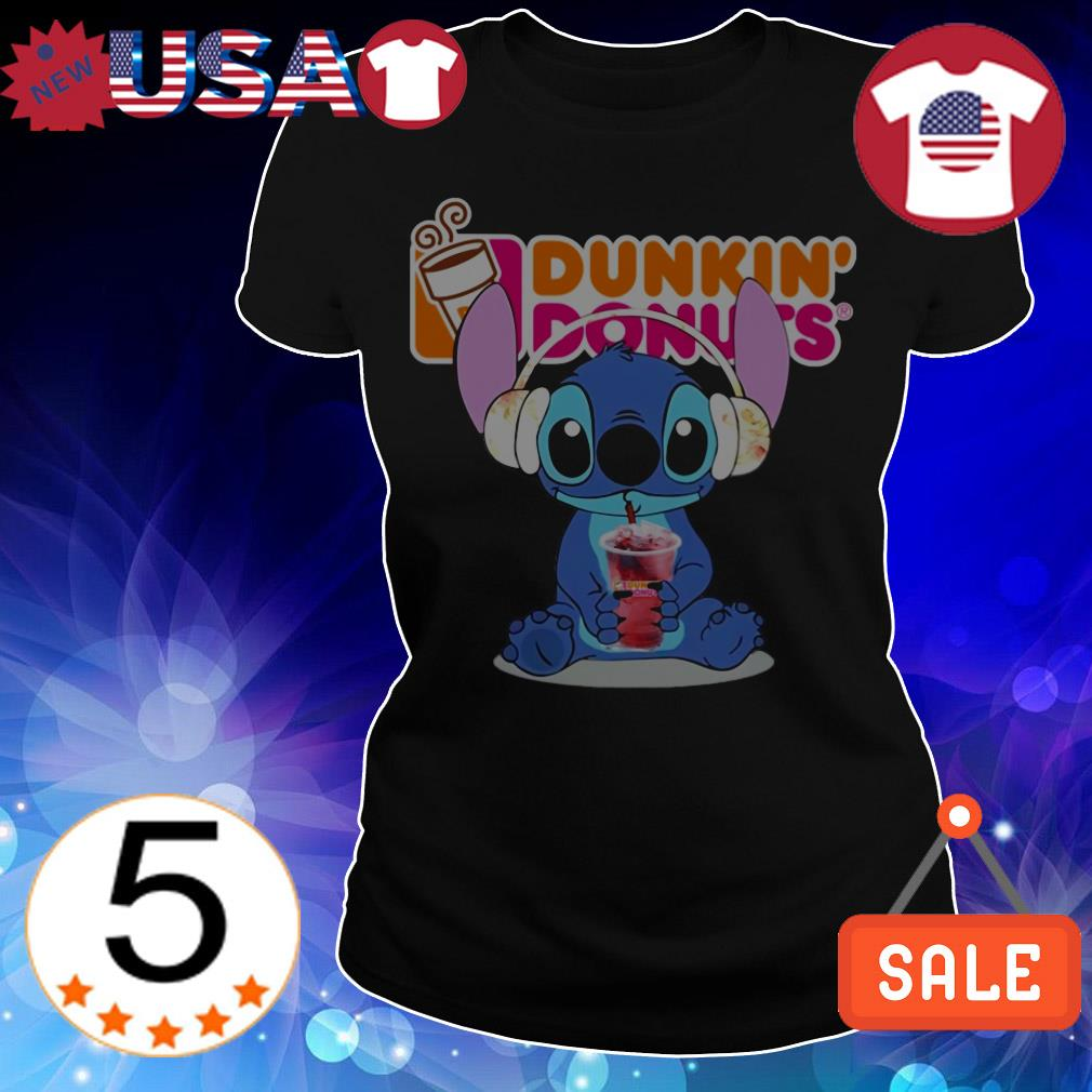 Stitch wearing headphone and drinking Dunkin' Donuts shirt
