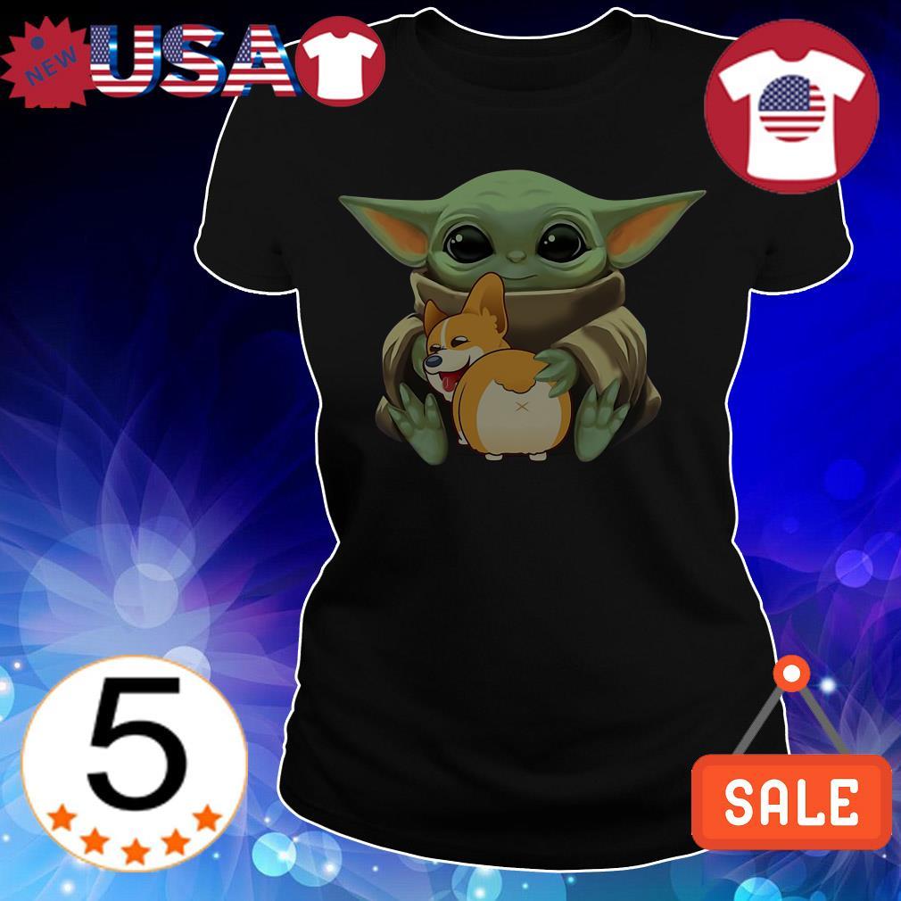 Star Wars Baby Yoda hug Corgi Dog shirt