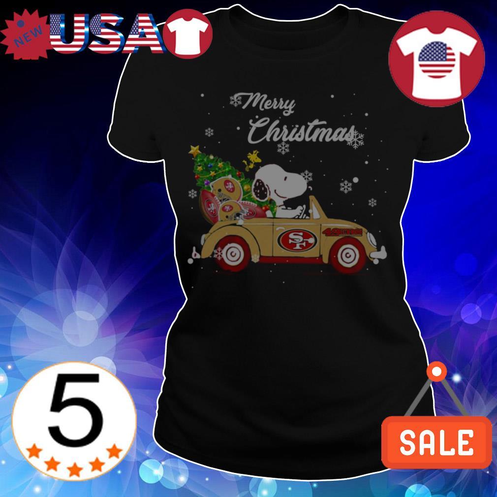 The Peanuts Snoopy driving San Francisco 49ers car Merry Christmas sweatshirt