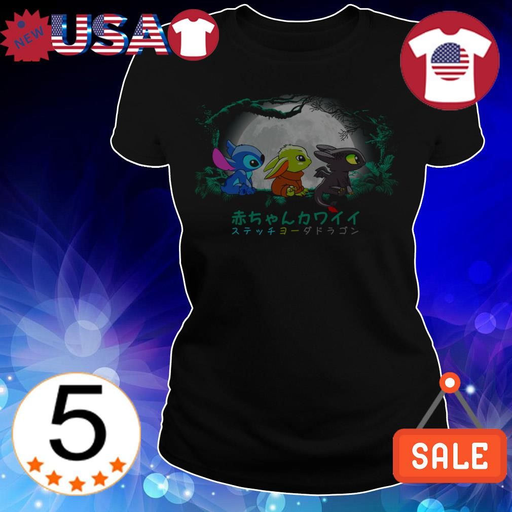 Baby Stitch Baby Yoda and Baby Toothless shirt