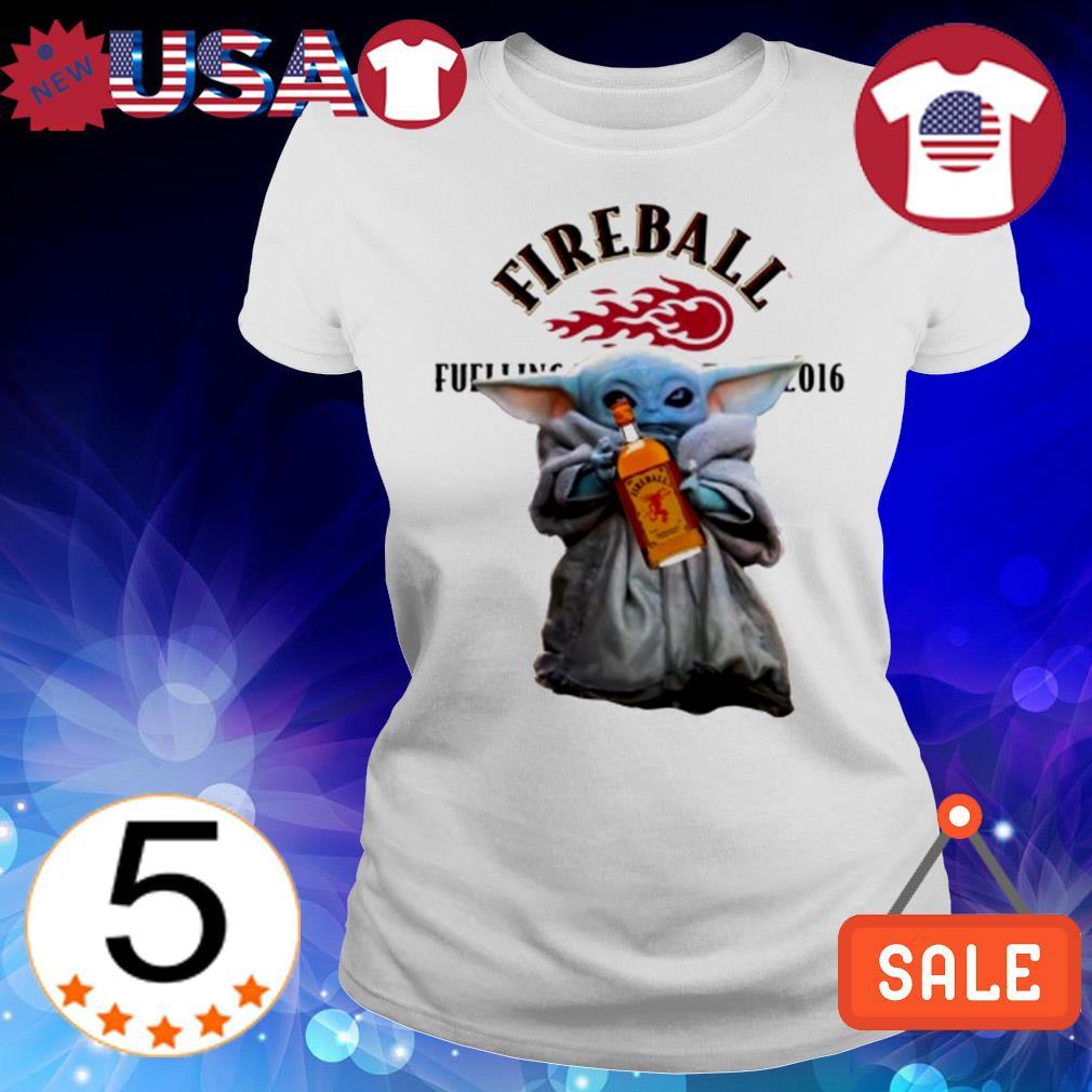 Star Wars Baby Yoda holding Fire Ball Wine shirt