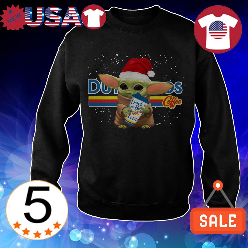 Yoda baby Santa hugs Dutch Bros coffee Christmas sweatshirt
